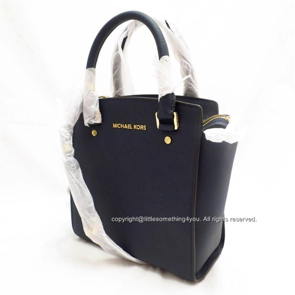 MICHAEL Michael Kors Selma Large Messenge Navy Blue Saffiano Leather NWT 6a9c18e24a