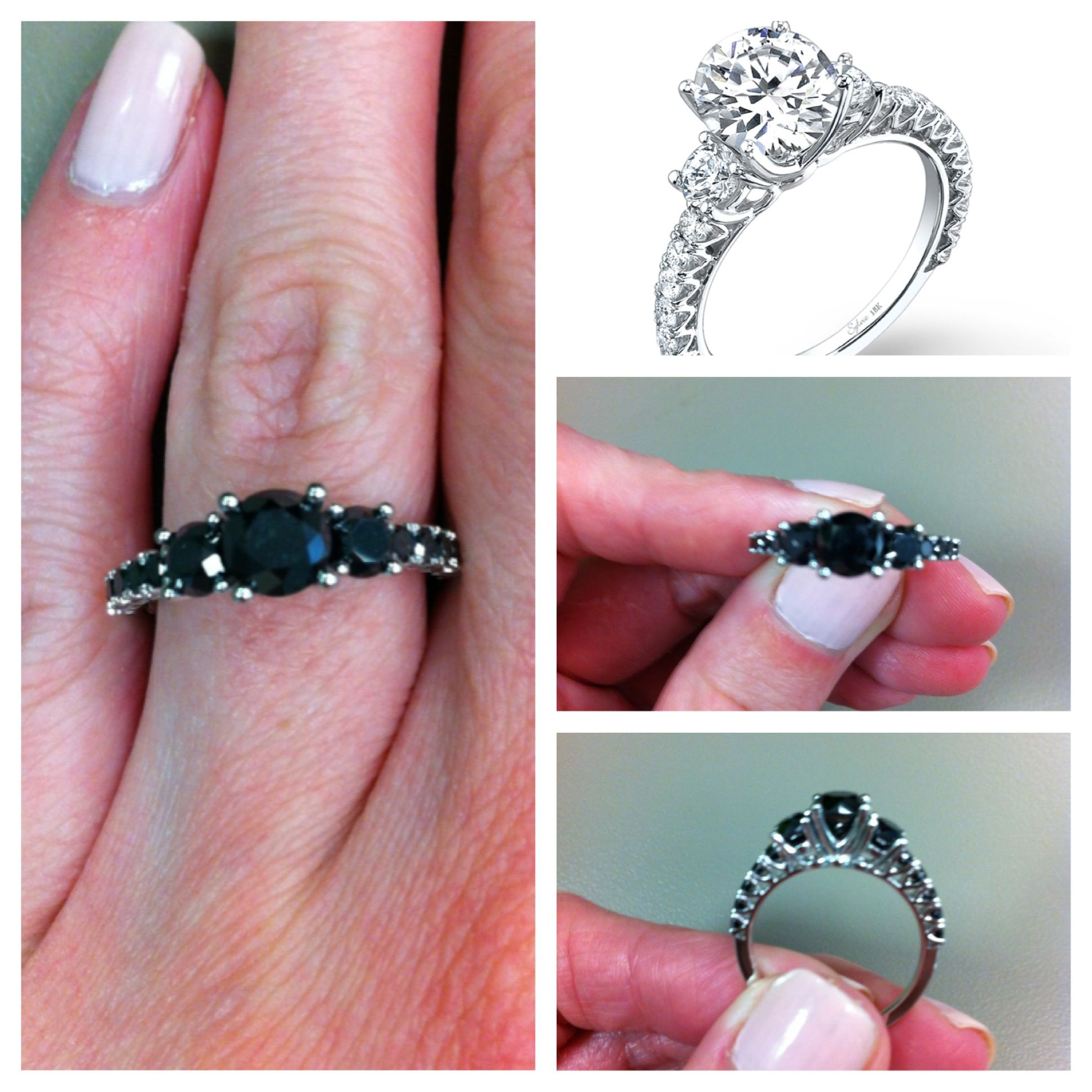 Dramatic jet-black #diamonds in #Sylvie\'s three-stone setting create ...