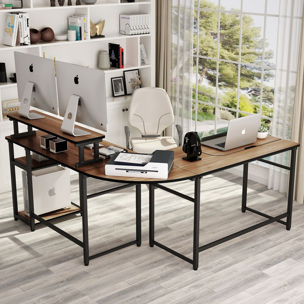 L Shaped Computer Desk With Monitor Stand Riser Study Writing Workstation Drafting Table Home Office Design Desk Office With Computers