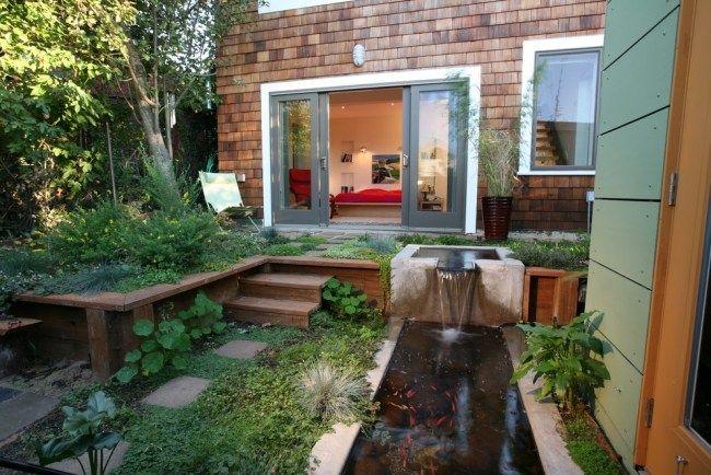 Garten Gestaltung Koiteich Wasserfall-Modern Design Ideen Garten