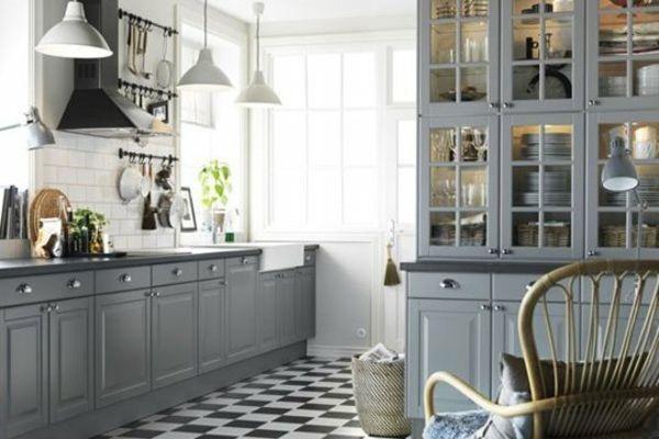 Küchen landhausstil grau  ikea küchenschrank graue farbkombination | Küche| Landhausstil ...
