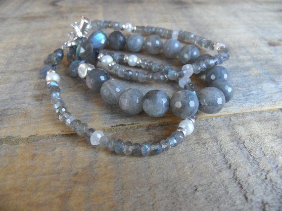 Handmade Jewelry - Triple Strand Faceted Labradorite Gemstone Bracelet