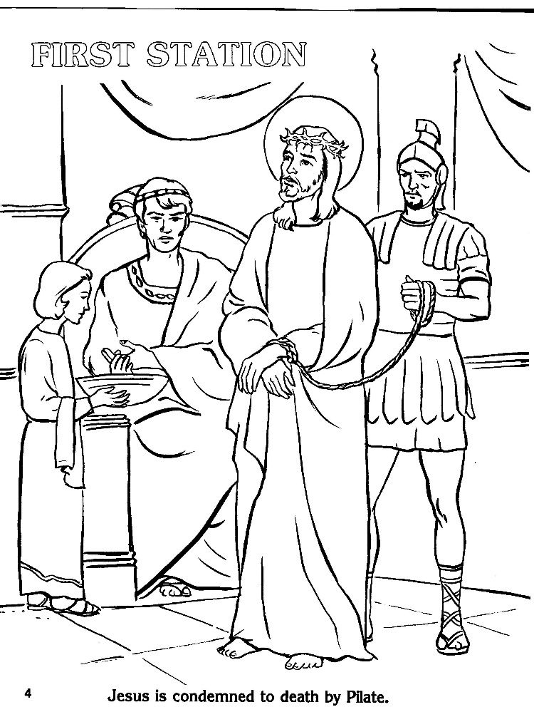 Catholic Stations Of The Cross Coloring Pages Cross Coloring
