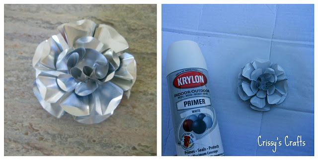 This is a pepsi can.  It's more work than I would care to put into a flower, but the result is quite impressive.