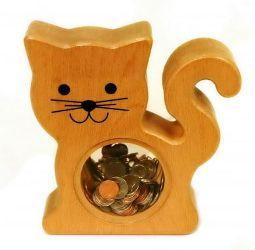 wooden cat bank