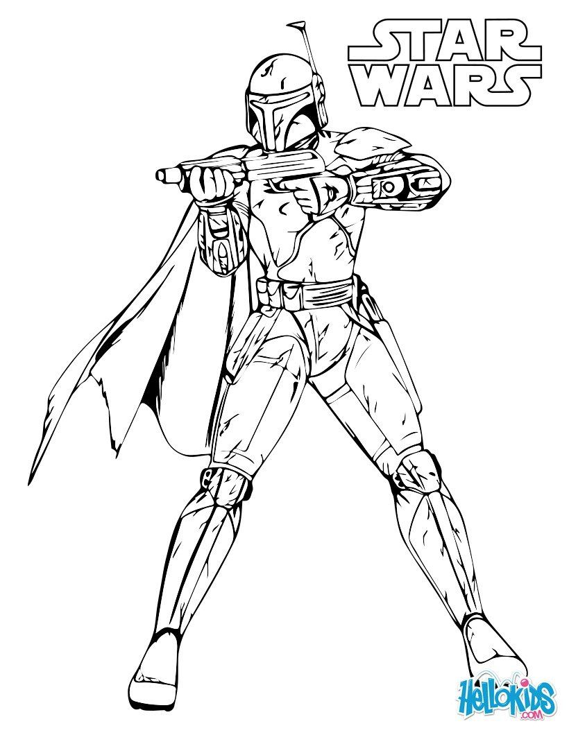 STAR WARS coloring pages - Boba Fett  Star wars coloring book