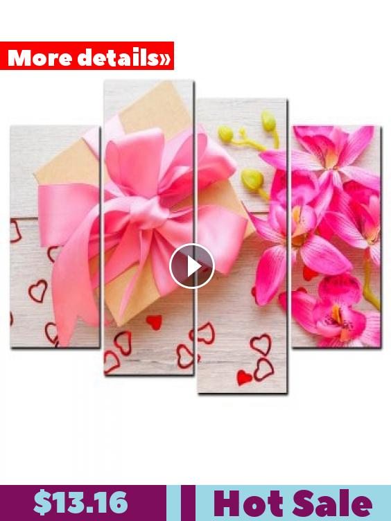 Yishiyuan 4 Pcs Hd Inkjet Paints Gift Box Love Flower Decorative