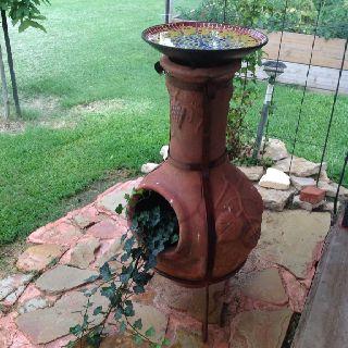 A New Use For An Old Chiminea Bird Bath Planter Bird Bath