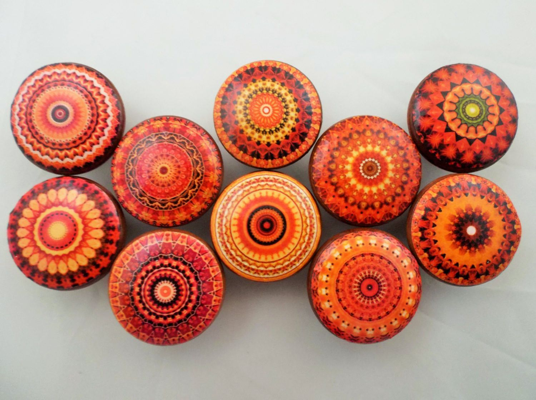Set of 10 Orange Mandala Cabinet Knobs | Knobs | Pinterest ...