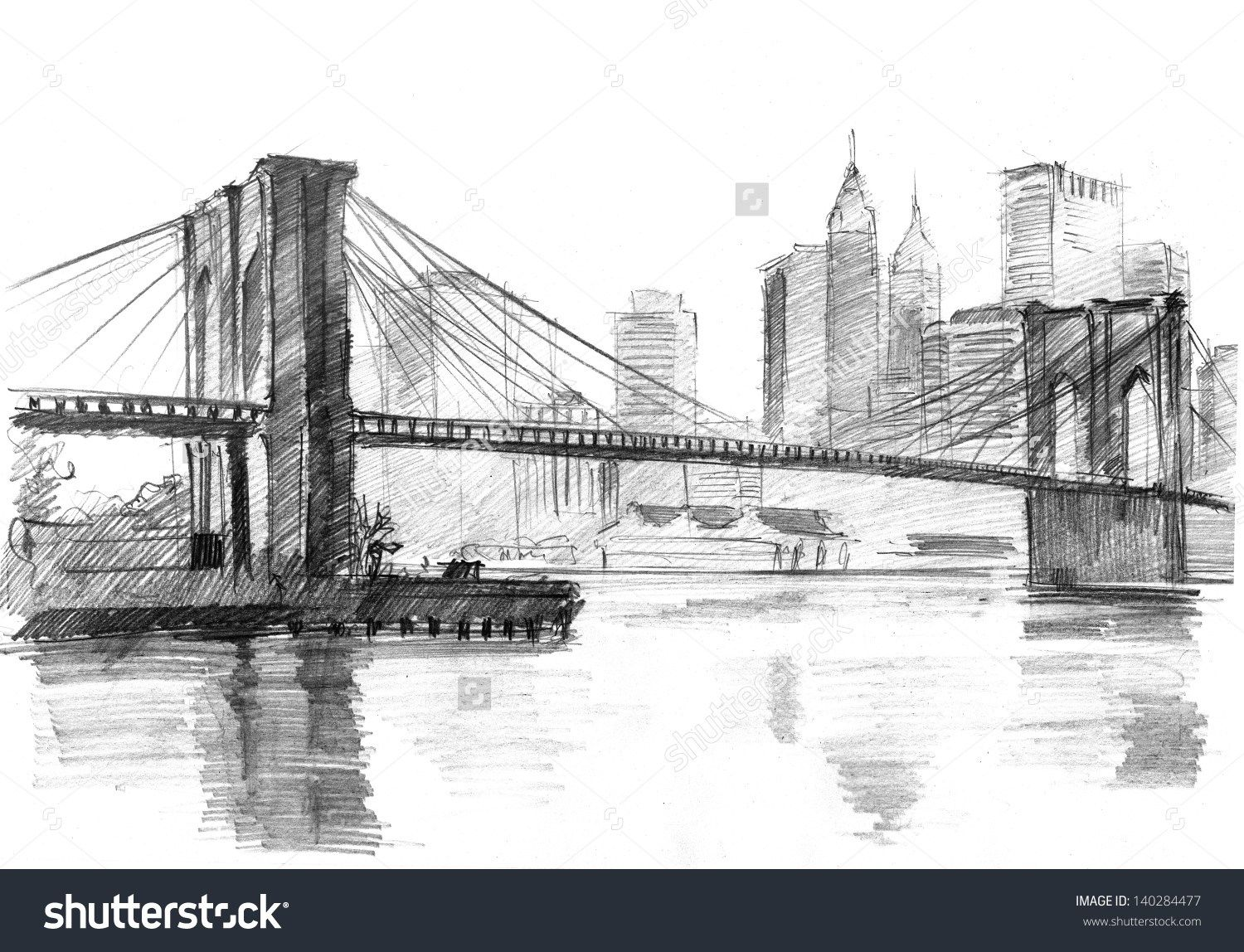 Pencil drawing of a landscape with set skyscrapers and brooklyn bridge in new york s