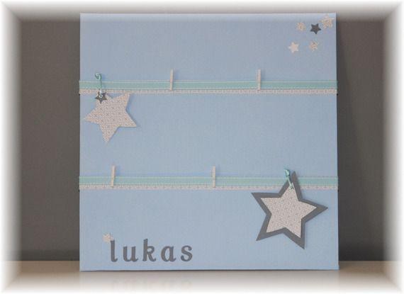 Cadre toile porte photo/pele-mele chambre bébé / garçon - bleu ciel