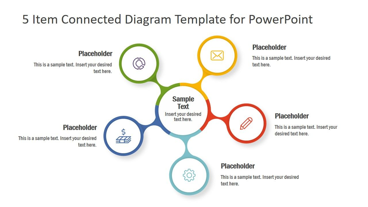 5 Item Connected Diagram Template For Powerpoint Slidemodel Powerpoint Templates Powerpoint Slide Designs Powerpoint Design