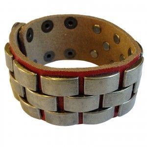 Genuine Red Leather Cuff Bracelet With Stainless Steel Stud Design For Men  Men's Jewellery #mensfashion #mensjewellery www.urban-male.com