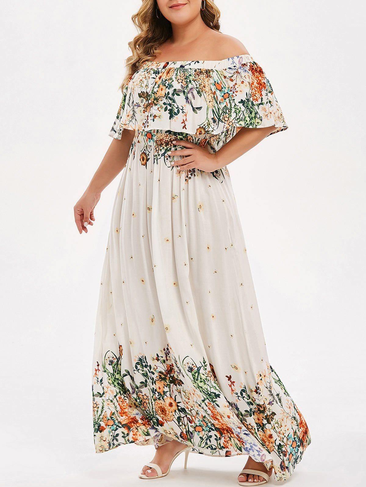 Plus Size Off Shoulder Ruffled Floral Maxi Dress Maxi Dress Ruffle Floral Maxi Dress Floral Maxi Dress [ 1596 x 1200 Pixel ]