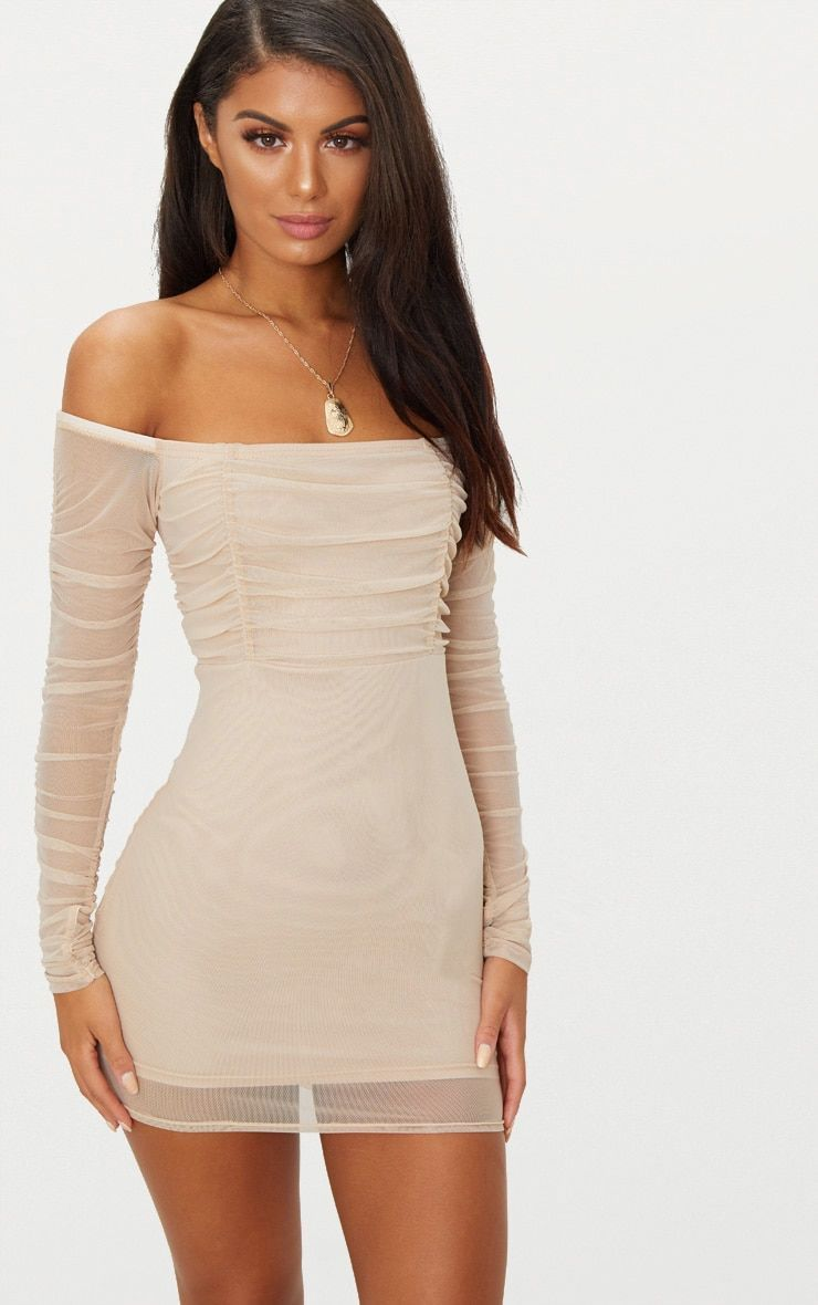 51a1040d9139 Stone Ruched Mesh Bardot Bodycon Dress Add some mesh to your weekend  wardrobe with this bodycon