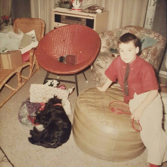"Christmas in Ft. Lauderdale 1968. Note how carefully color coordinated my outfit is to the furniture in the ""Florida Room"""