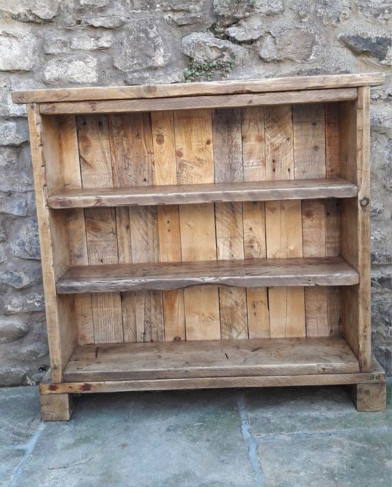 Handmade solid wood bookcase. reclaimed wood shelves rustic industrial