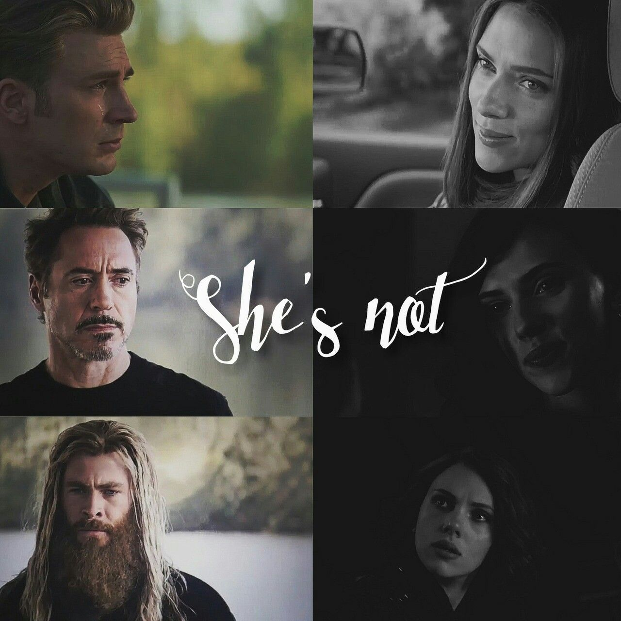 she's not coming back (part one) - black widow (natasha romanoff) // captain america (steve rogers) // iron man (tony stark) // thor (thor odinson) -// picture owner: misswhovian101 (tumblr)