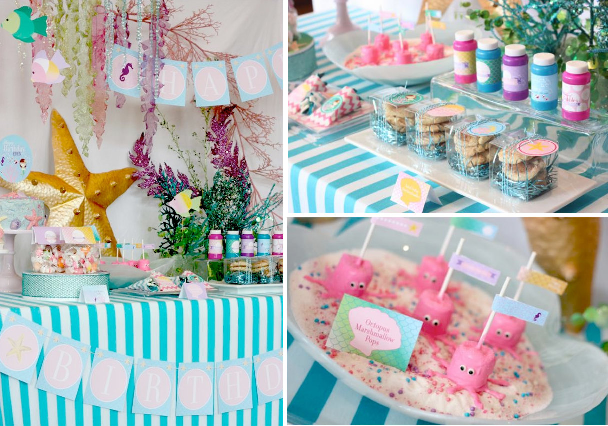 Mermaid 2nd birthday party kara 39 s party ideas the for 2nd birthday party decoration ideas