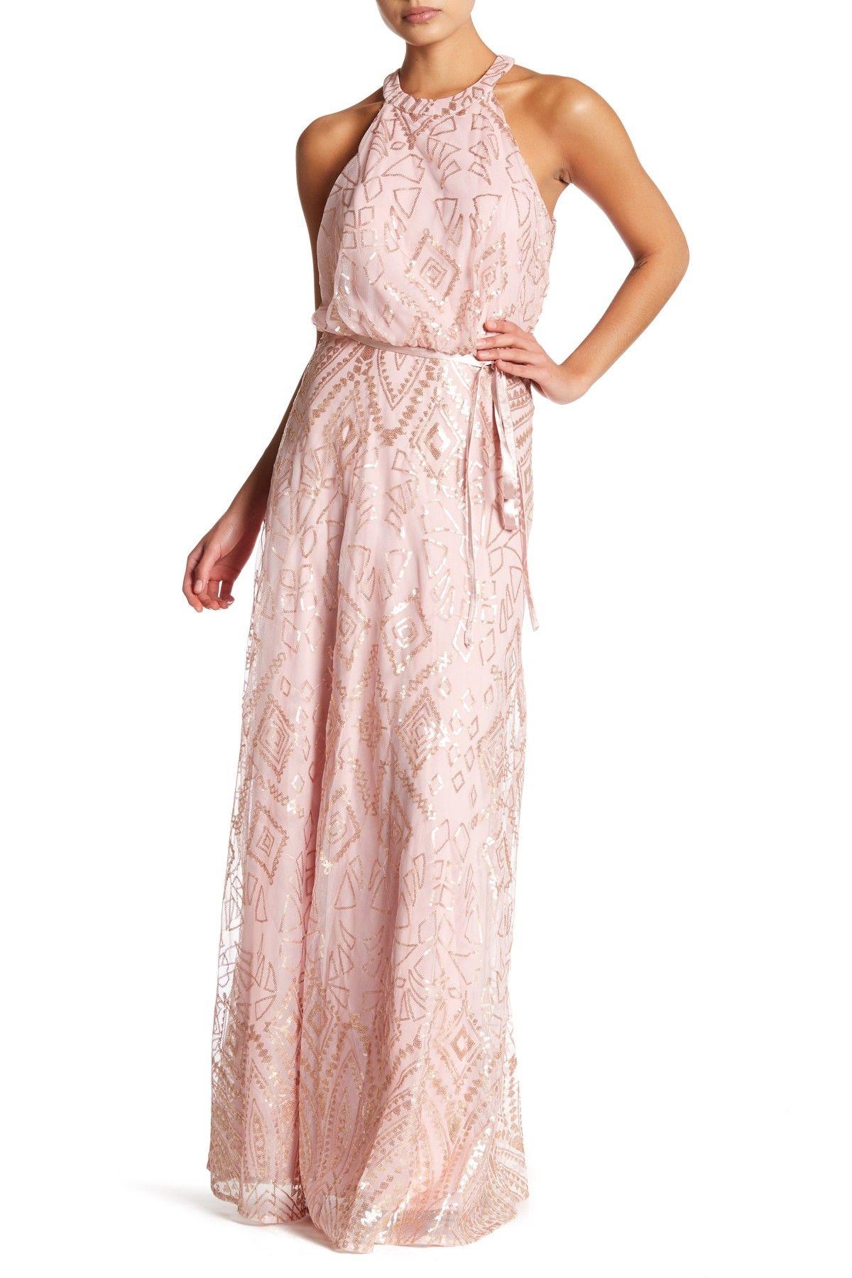 Nordstrom dresses wedding guest  High Neck Ribbon Sash Long Dress by Marina on nordstromrack