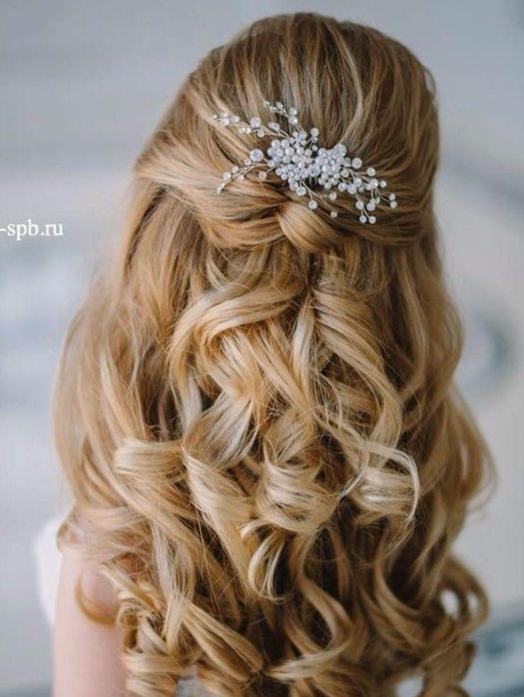 Wedding hair delicate flowers half up hairstyles pinterest