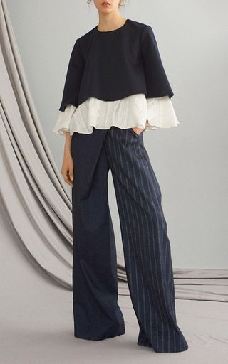 this adeam low rise trouser features a stripe combo. Black Bedroom Furniture Sets. Home Design Ideas
