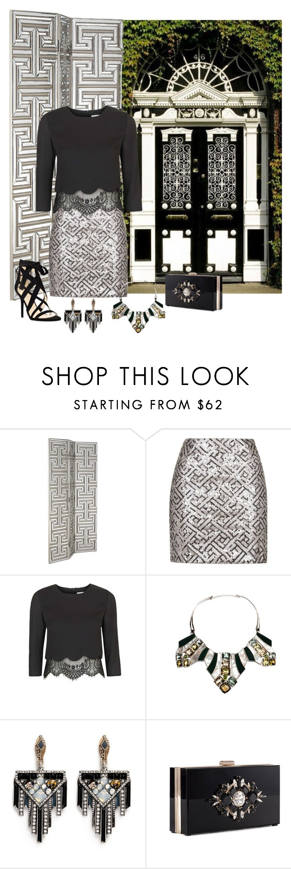 """""""Art Deco"""" by alara-cary ❤ liked on Polyvore featuring Pacific Coast, Topshop, Isabel Englebert, Lulu Frost, Noir and Nine West"""