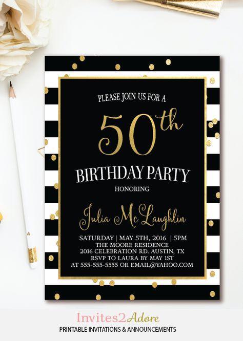 Black White Stripe Confetti Birthday Invitation
