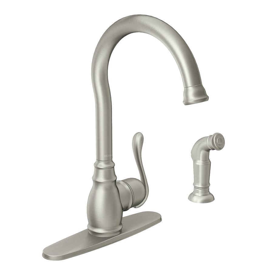 Shop Moen Anabelle Spot Resist Stainless 1 Handle High Arc Kitchen Faucet  With Side