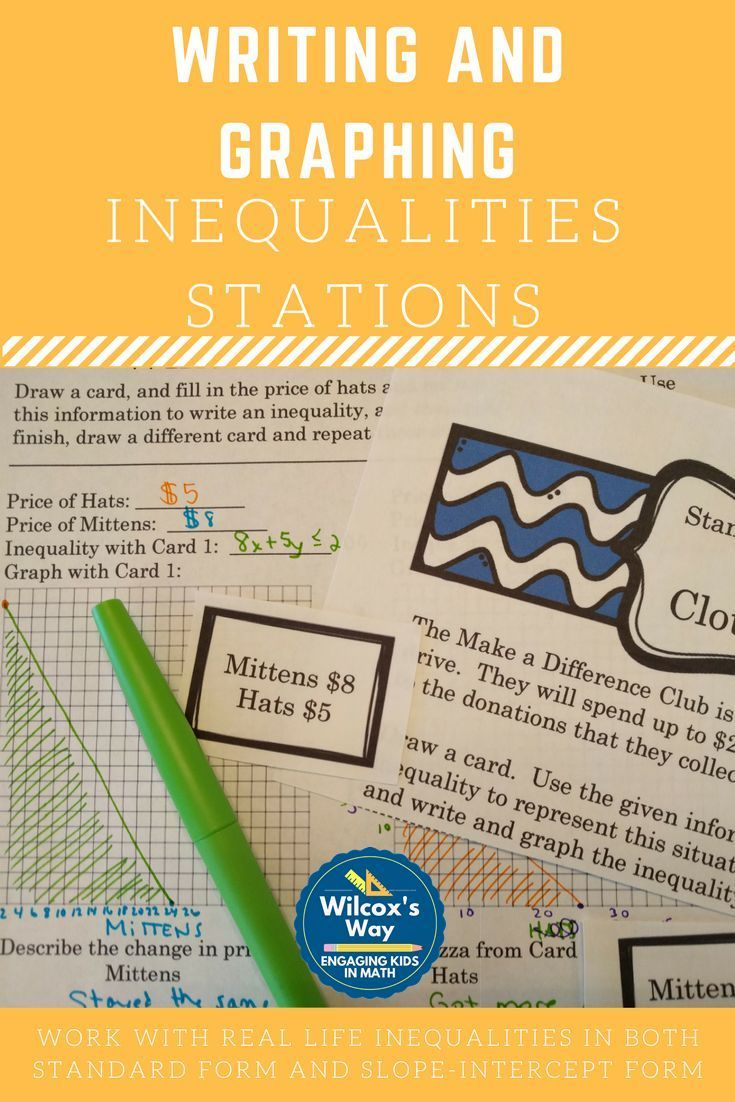 Writing and graphing inequalities in 2 variables stations students practice writing and graphing inequalties in two variables in slope intercept and standard form falaconquin