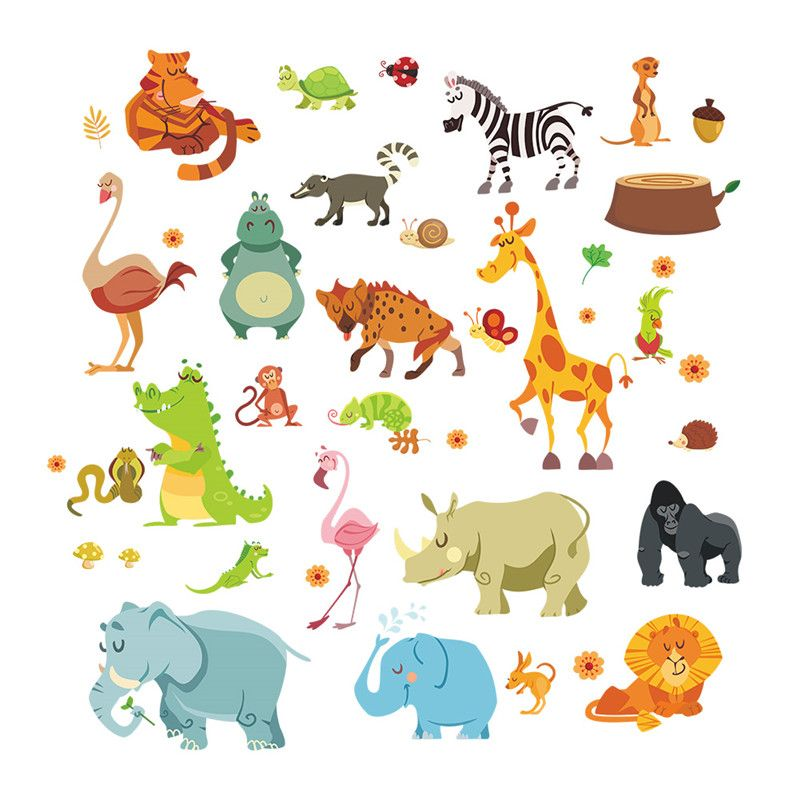 Jungle Animals Wall Stickers For Kids Rooms Safari Nursery Rooms Baby Home  Decor Poster Monkey Elephant Part 71