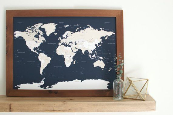 Small World Map Push Pin Map Framed World Map Travel Map Custom