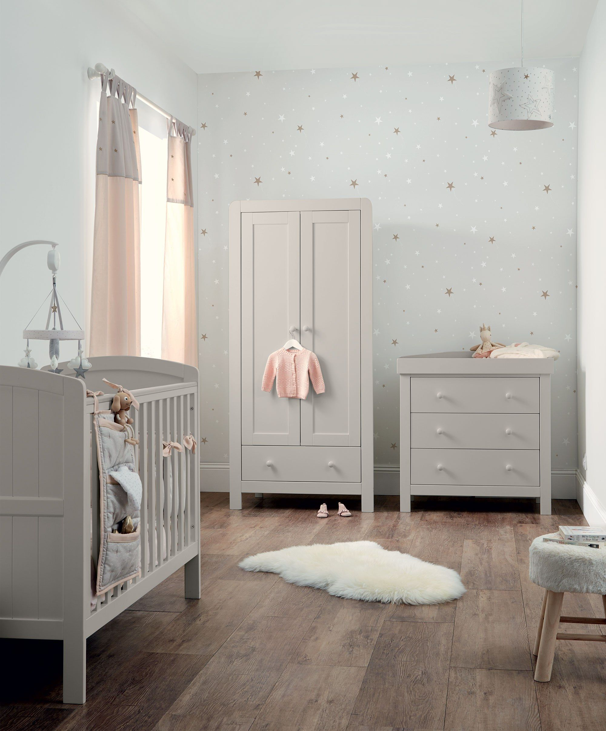 Dover 3 Piece Cot Range With Dresser And Wardrobe Grey Nursery
