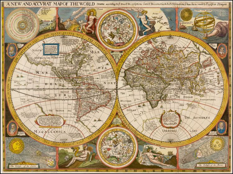1659 A New and Accurat Map of the World Drawne According to ye - new world map canvas picture
