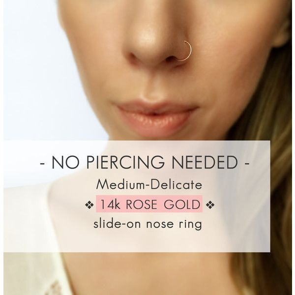 Medium Delicate Rose Gold fake nose ring 11 liked on Polyvore