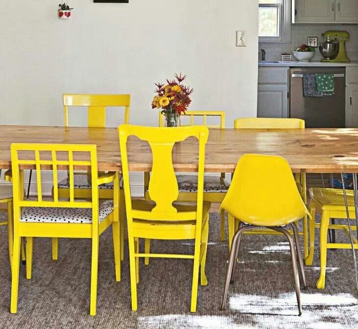 Mismatched chairs, painted the same color. Love! | Dining ...