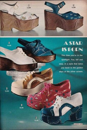 ca9ab46531d 1970s disco platform shoe ad sandal wedge oxford lace up red white blue tan  wood heel