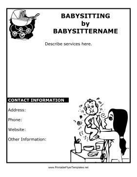 This Black And White Babysitting Flyer Is Great For Babysitters