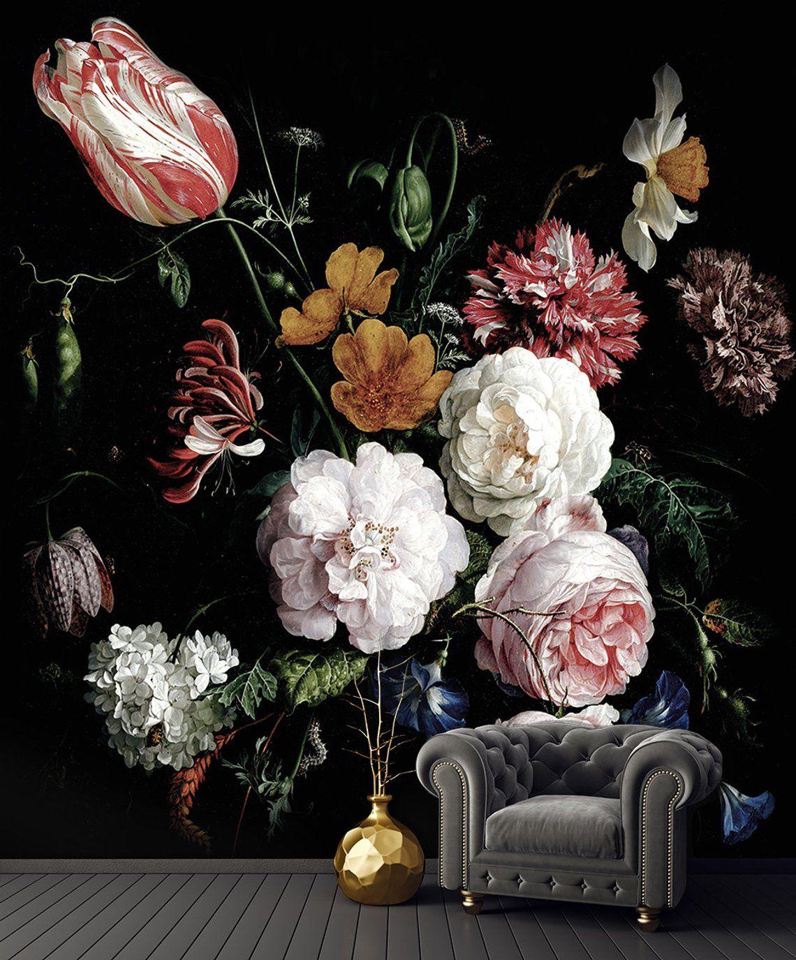 Dark floral peel and stick wallpaper, Dutch flowers oil