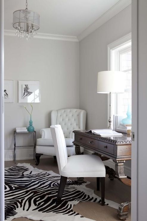 Milton Development: Gorgeous Home Office With Silver Gray Paint Color And  Office Crown Moldings.