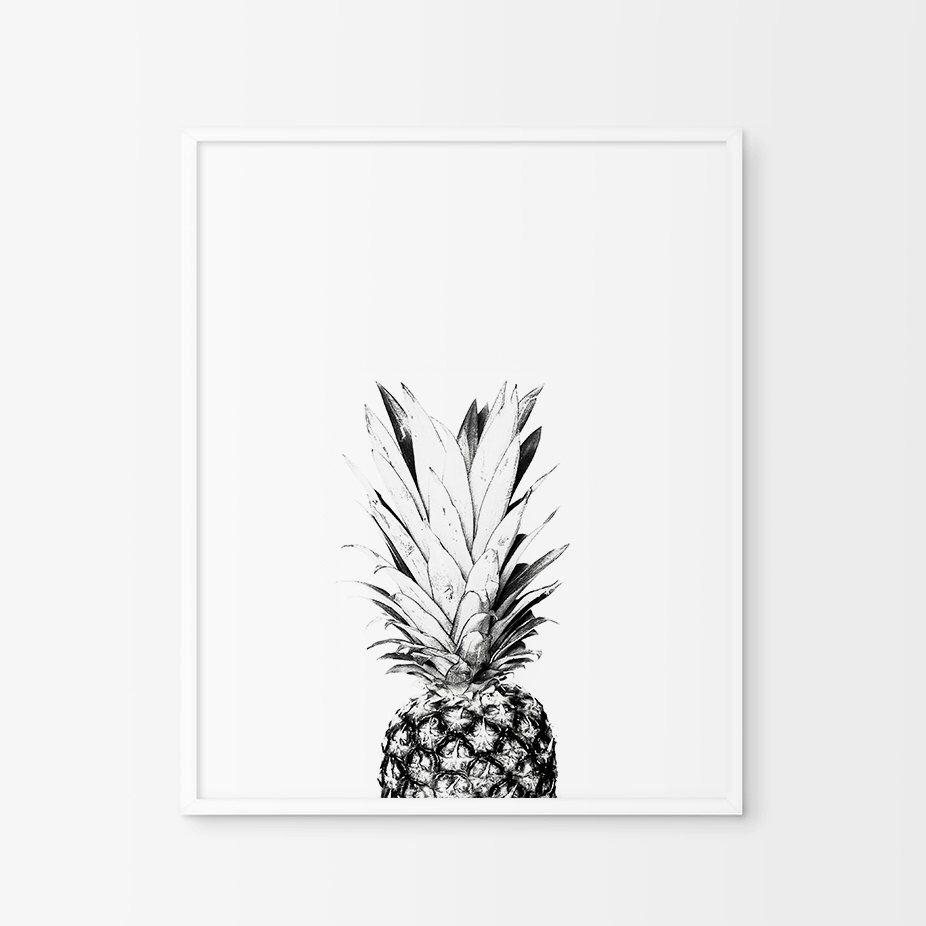 Pineapple wall print pineapple print art kitchen wall decorfruit
