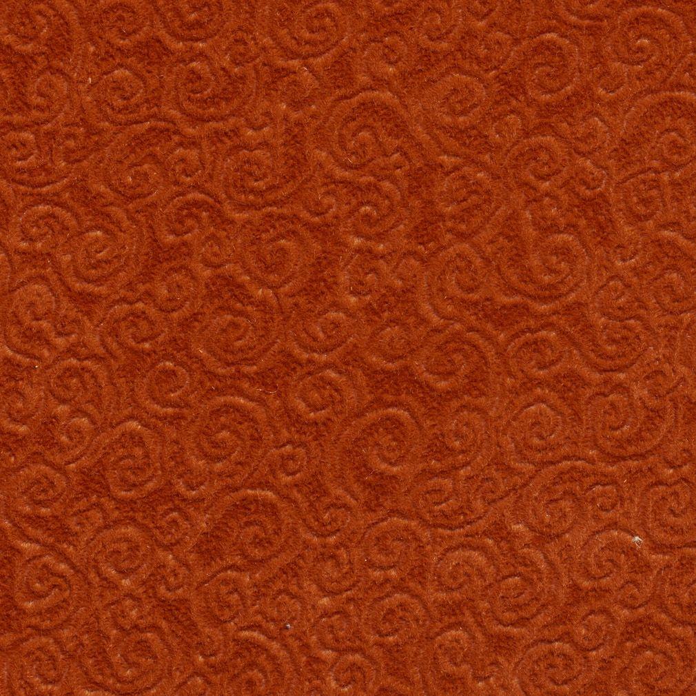 Orange Swirly Scroll Stain Resistant Microfiber Upholstery Fabric