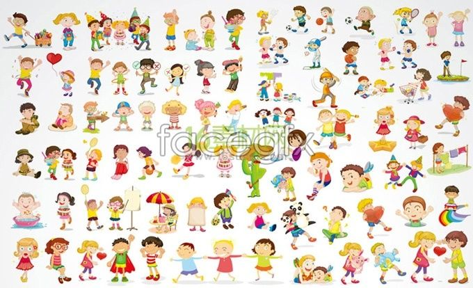 Cute cartoon children baby vector