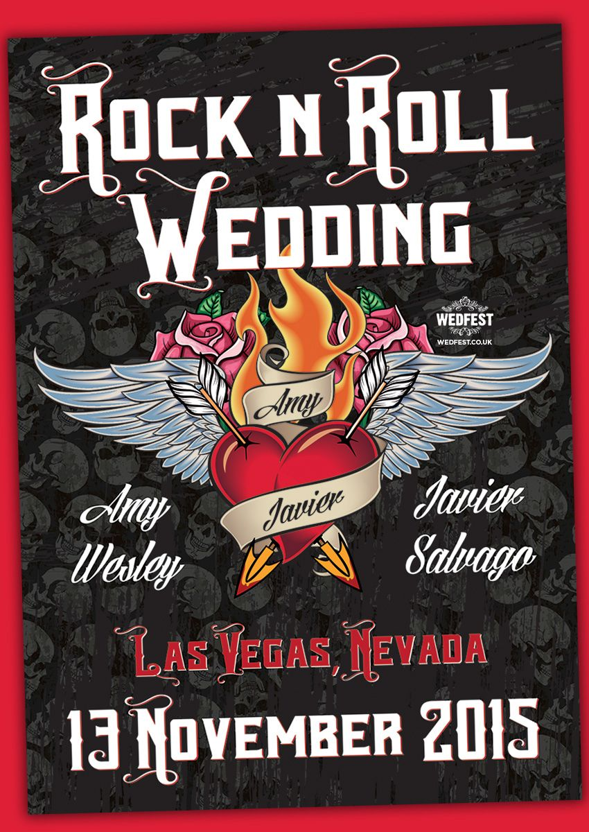 Las Vegas Rock N Roll Wedding Invites