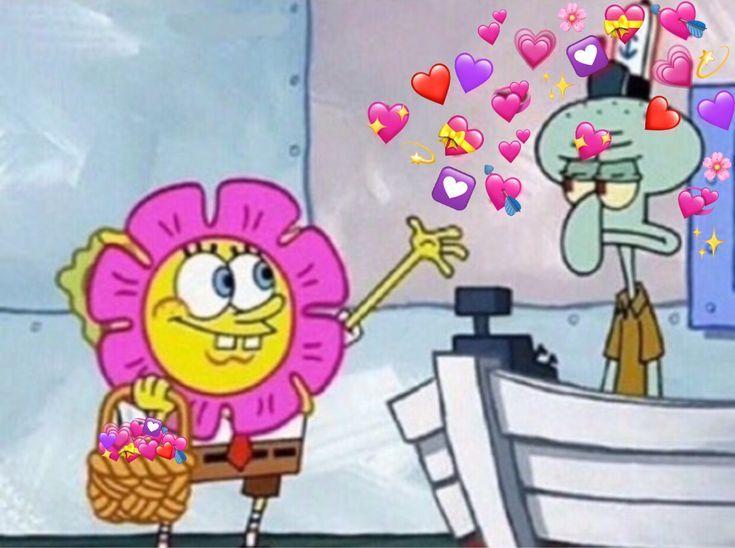 spongebob squidward mood joy happy hearts Cute