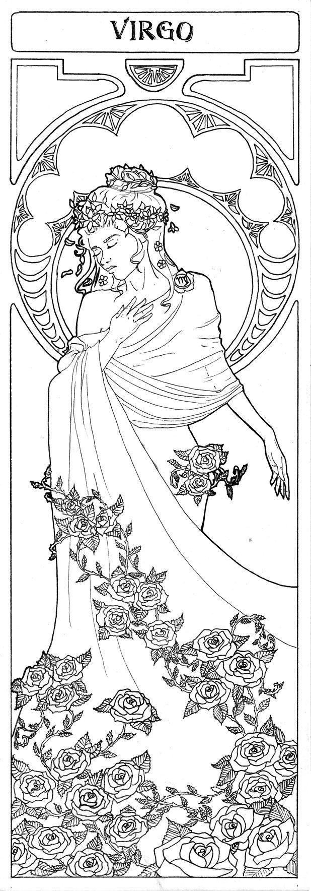 Kleurplaten Zodiac Pin Via Dromenvangers Winkeltje Virgo Patroon Tekening Prent Sjabloon Virgo Art Astrology Virgo Virgo Tattoo