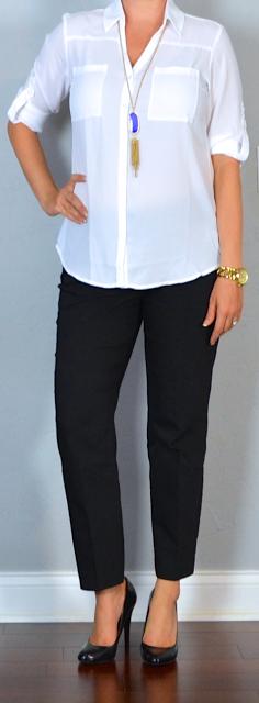 outfit post: white portofino shirt, black ankle pants, black pumps (Outfit Posts)
