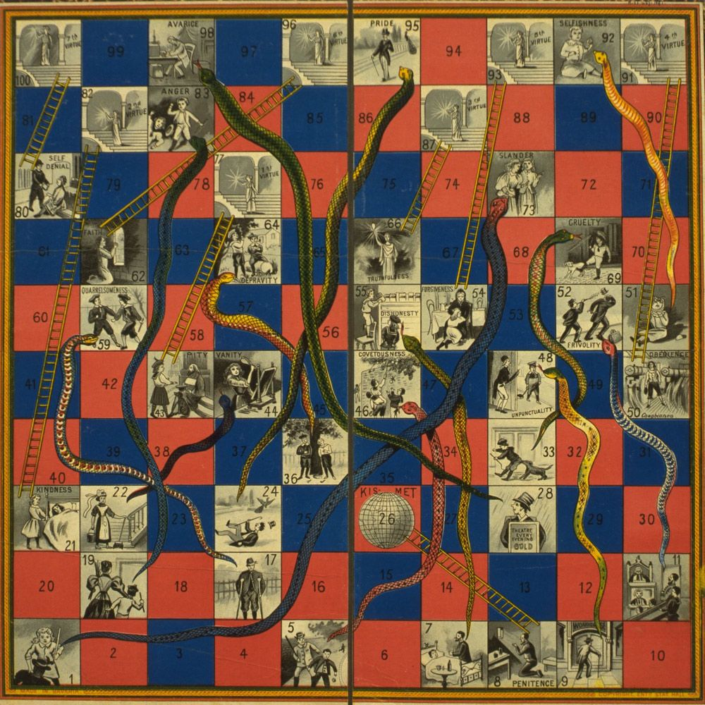 Snakes and Ladders Word Game | Game of Snakes & Ladders, United Kingdom, 1895