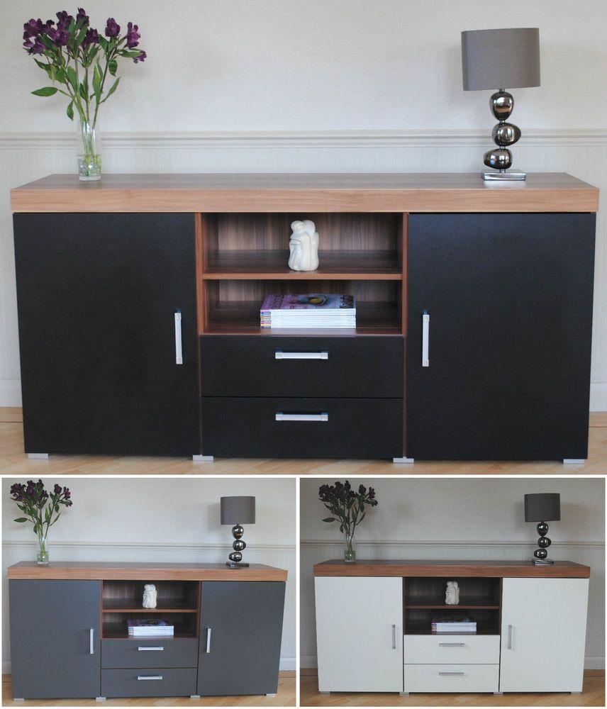 Large 2 Door Drawer Sideboard Black White Grey Cupboard TV Cabinet