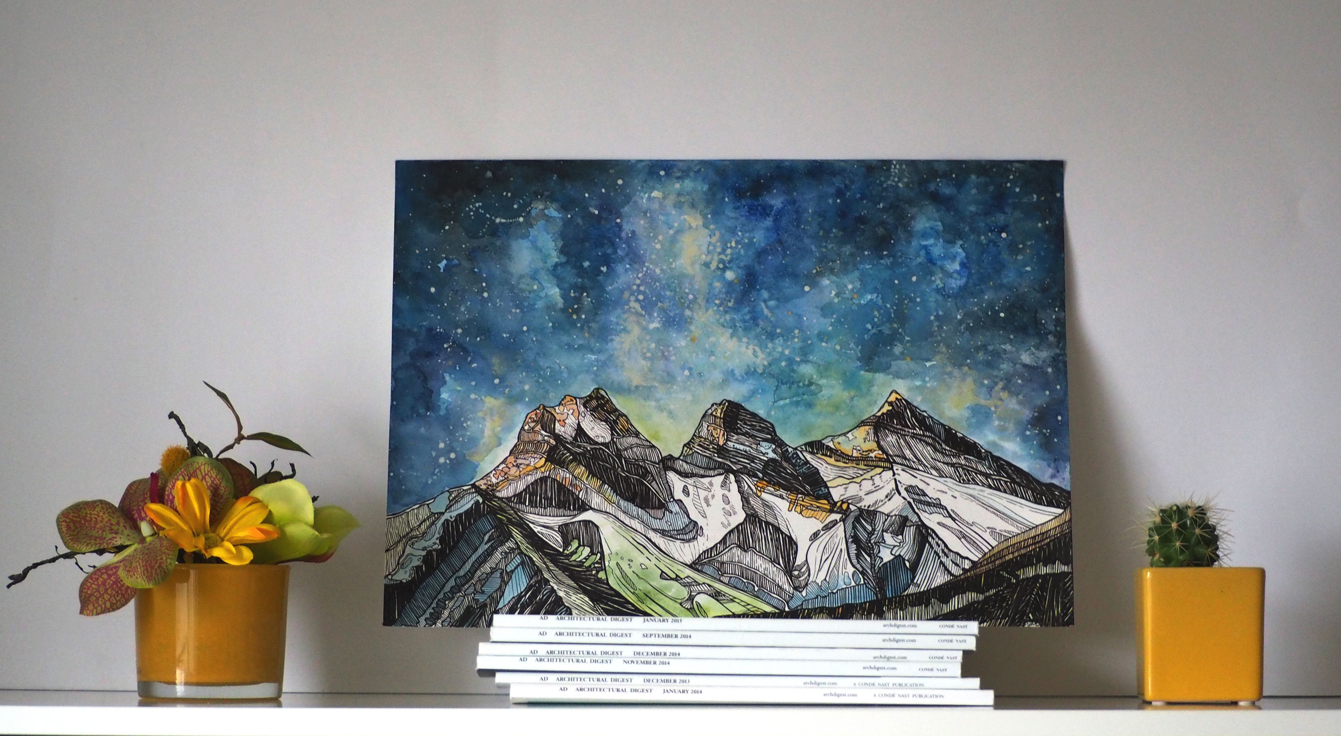 Three Sisters Mountains Print Canmore Alberta Canada Etsy Mountain Print Watercolor Print Rocky Mountains Art